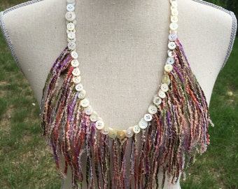 Fun Fiber and Button Necklace....Specialty Yarn and Vintage Buttons