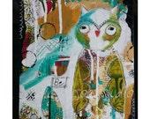 Owl Art Print for kids / Nursery Print/ Owl Art Print/Owl Painting/ mixed media collage /Owl art canvas/ let it be