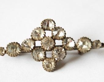 Vintage crystal brooch. Vintage paste brooch. Brass brooch. Edwardian brooch.  Antique jewellery