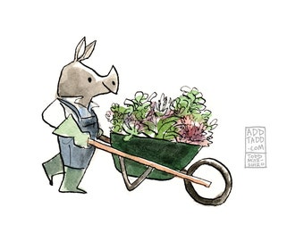 The Big Haul -- Rhino Gardener -- Plant Garden Wheelbarrow -- Digital Watercolor Print -- Fun Family Art