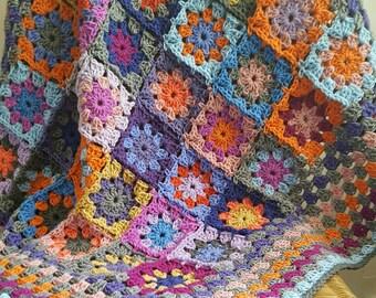 Crochet Blanket Kaleidoscope Flower Granny Squares Afghan Orange Purple