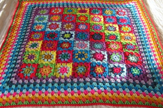 Ready To Ship RAINBOW Kaleidoscope Blanket Granny Squares Afghan