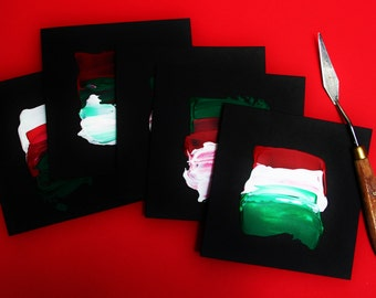 Red, White and Green - 5 original art Christmas cards