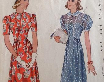 1930s Vintage Misses' Dress Frock with or without Slide Fastner Closing