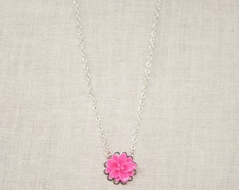 Handmade Pink Flower Necklace Resin Flower Necklace Pink Necklace Pink Flower Pendant Girls Pink Necklace Pink Flower Girl