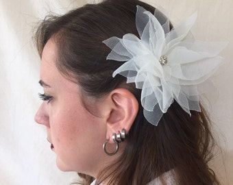 Ivory Lotus flower Head Piece/hair clip