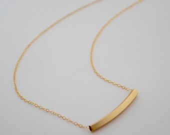 Gold Bar Necklace, Curved Bar Necklace, Hollow Bar Necklace, Gold Necklace, Simple Gold Necklace, Gold Layering Necklace