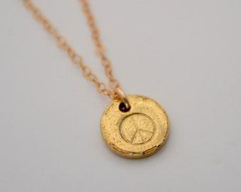 Peace Sign Necklace, Gold Peace Sign Necklace, Small Peace Sign Necklace, Small Stamped Necklace, Goldie