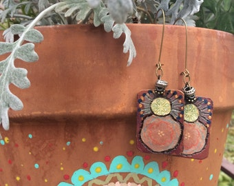 Charm EARRINGS,folk earrings, wooden earrings, abstract earrings, free people style earrings, hippy earrings,reversible earrings,  Zasra