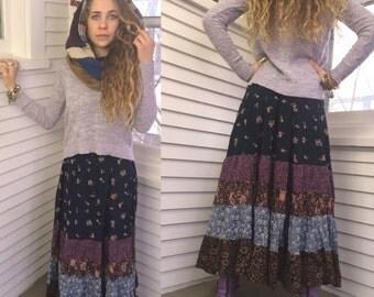 LOVE Sale Eco Gypsy SKIRT, sizeXS  eco clothing, hippie skirt, festival skirt,  long boho skirt, rayon skirt,  full skirt, patchwork skirt,