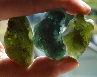 6 GORGEOUS BONFIRE SHARDS | Green | Scottish Sea Glass Shards | Sea Worn (4463)