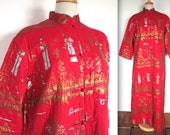 Vintage 1950's Alfred Shaheen Robe // 50s 60s Quilted Red Silver and Metallic Gold Asian Print Mandarin Coat // DIVINE