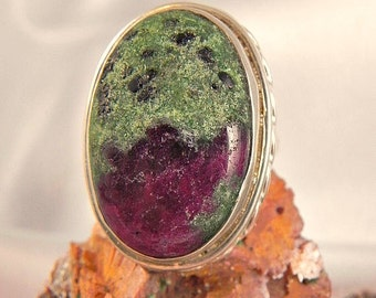 Genuine Ruby and Zoisite Sterling Ring