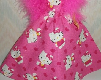 "Handmade 11.5"" fashion doll clothes - pink and white Kitty gown with boa"