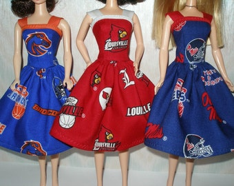 """Handmade 11.5"""" Fashion doll clothes - Your Choice - Choose 1 - Boise State, U of Louisville, Ole Miss"""