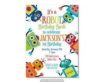 Robot Invitation, Printable Birthday Invitation, DIY, Robot Party Decor, Robot Banner, Robot Party Set 1120