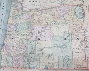 Antique 1891 Original Color Atlas Map-Art-122 years Old-Oregon