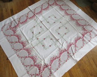 Vintage Pink and Gray Rosebud Swag Tablecloth