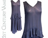 SALE 1920s Flapper Dress in Blue with Peplum and Bias Cut Skirt.