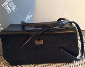 Vintage 1940s 1950s Handbag Box Purse Black Leather R. Appel New York Label
