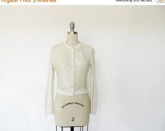 Vintage Sweater / Vintage Cardigan / 1950s Sweater / Beaded Cardigan / 1960s Sweater / Orlon Sweater Beaded Sweater Rockabilly Pinup girl