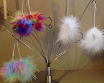 Marabou Feather Pom Pom Earring/Feather Earrings/Marabou Fluff/White/Multicolor/Pastel/Other Colors/MADE TO ORDER