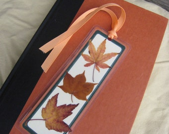 Orange and Brown Pressed Fall Autumn Leaves Laminated Bookmark