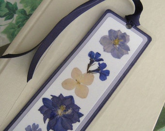 Pressed Flower Dark and Light Purple Floral Collage Laminated Bookmark