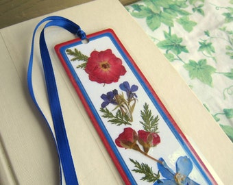 Bookmark Pressed Flower Blue and Red With Fern Leaves Floral Collage Laminated
