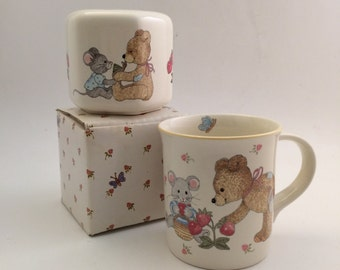 Vintage Mikasa Baby Mug and Bank for Children-  Teddy Pattern