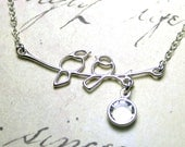 Bird necklace - The Love Bird Necklace - Two Little Silver Birds On A Branch - Sterling Silver and Swarovski Crystal