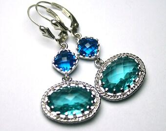 Mediterranian Jeweled Earrings - Gothic Earrings In Aqua And Capri Blue - Sterling Silver Leverbacks - Sapphire And Aqua Blue Earrings