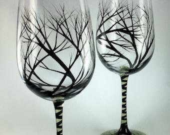 Hand Painted Tree Wine Glasses
