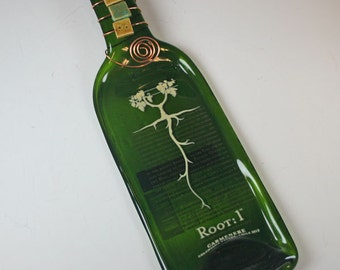Melted Wine Bottle, Slumped Wine bottle,Recycled Wine Bottle, Slumped,Root:1 Melted Wine Bottle Cheese Tray
