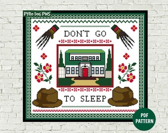 Don't Go To Sleep  Cross Stitch Pattern PDF - Modern Cross Stitch - Instant Download - Horror Craft Pattern