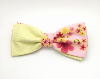 Pink Cherry Blossom Floral Light yellow two tone Clip On Bow tie Adult Men Boy Baby Toddler Kid Children Party Gift Wedding Groom Groomsmen