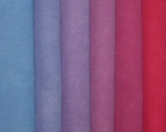 932 - Hand Dyed Red-Blue Gradation Fabric