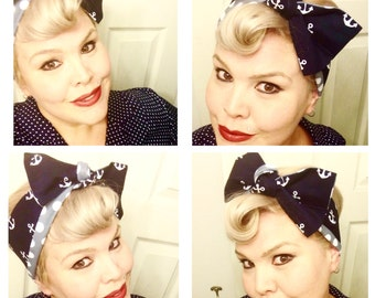 Vintage Inspired Headscarf, Anchors, Dots, Retro, Rockabella