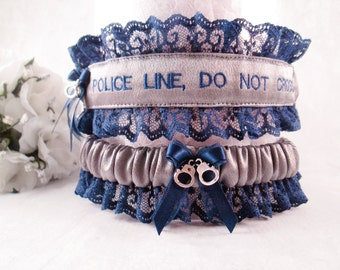 State Trooper Wedding Garters - Handcrafted Police Line DO Not Cross Garter Set - Something Blue Garter Belt
