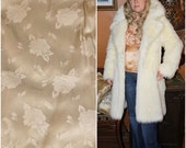 Ivory 70s 50s Faux Shaggy Fox fur COAT Princess Boho faux Monkey Penny Lane 1950s