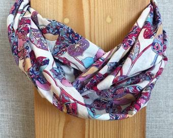 Loop scarf womens infinity scarf floral blue pink purple