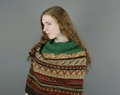 CLEARANCE SALE Upcycled Recycled Repurposed Sweater Wrap Shrug Infinity Scarf Tribal Woodland Brown Green Fashion Hipster Boho