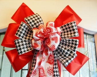 Large Valentine Door Bow Red ribbon, black and white  print and White Valentines ribbon center
