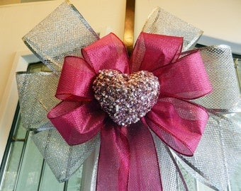 Large Valentine Door Bow silver mesh and shimmery pink ribbons pink sequin heart center