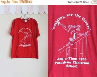 40% OFF back2school SALE vintage 1980s T-shirt - Jog-A-Thon summer camp tee / 10/12yr or Xs
