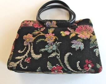vintage tapestry bag - NEEDLEPOINT floral carpet bag
