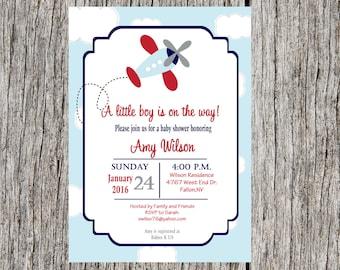 Airplane Baby Shower Invitation, airplane, boy invitation, baby shower, DIY, printable and custom