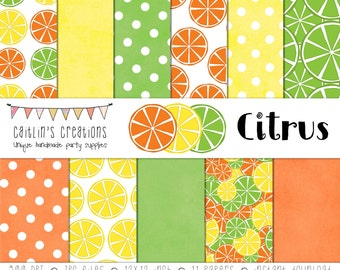 Citrus Digital Scrapbook Paper  - Orange, Yellow, Green - Orange, Lemon, Lime - INSTANT DOWNLOAD