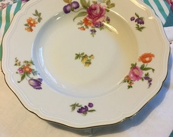 Vintage Soup or Salad Bowl Johann Havinad Chippendale Shape Bright Floral Made in Bavaria Germany #3754