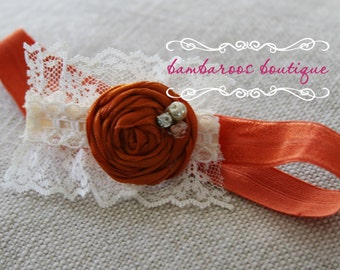 vintage orange baby headband, Newborn photography prop, petite vintage rosette on lace, newborn headband, vintage headband, vintage pink